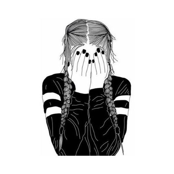 tumblr, outlines, white, black, drawing ❤ liked on Polyvore featuring  filler and