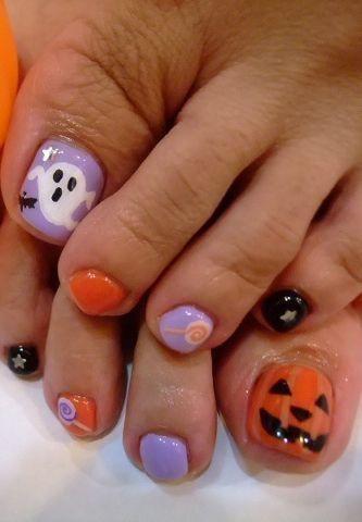 Ghost Pumpkin Toe Nail Art Halloween Toe Nails Toe Nail Designs Toe Nail Art