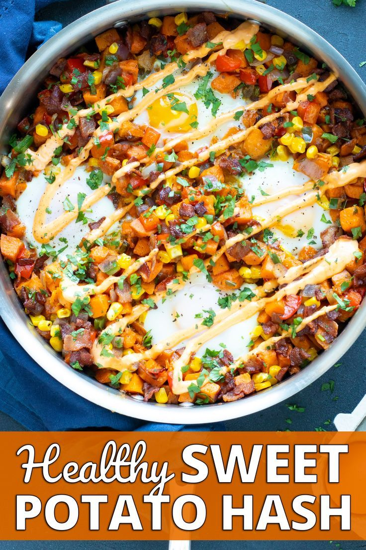 Sweet Potato Hash Recipe with Eggs - Evolving Table #sweetpotatorecipes