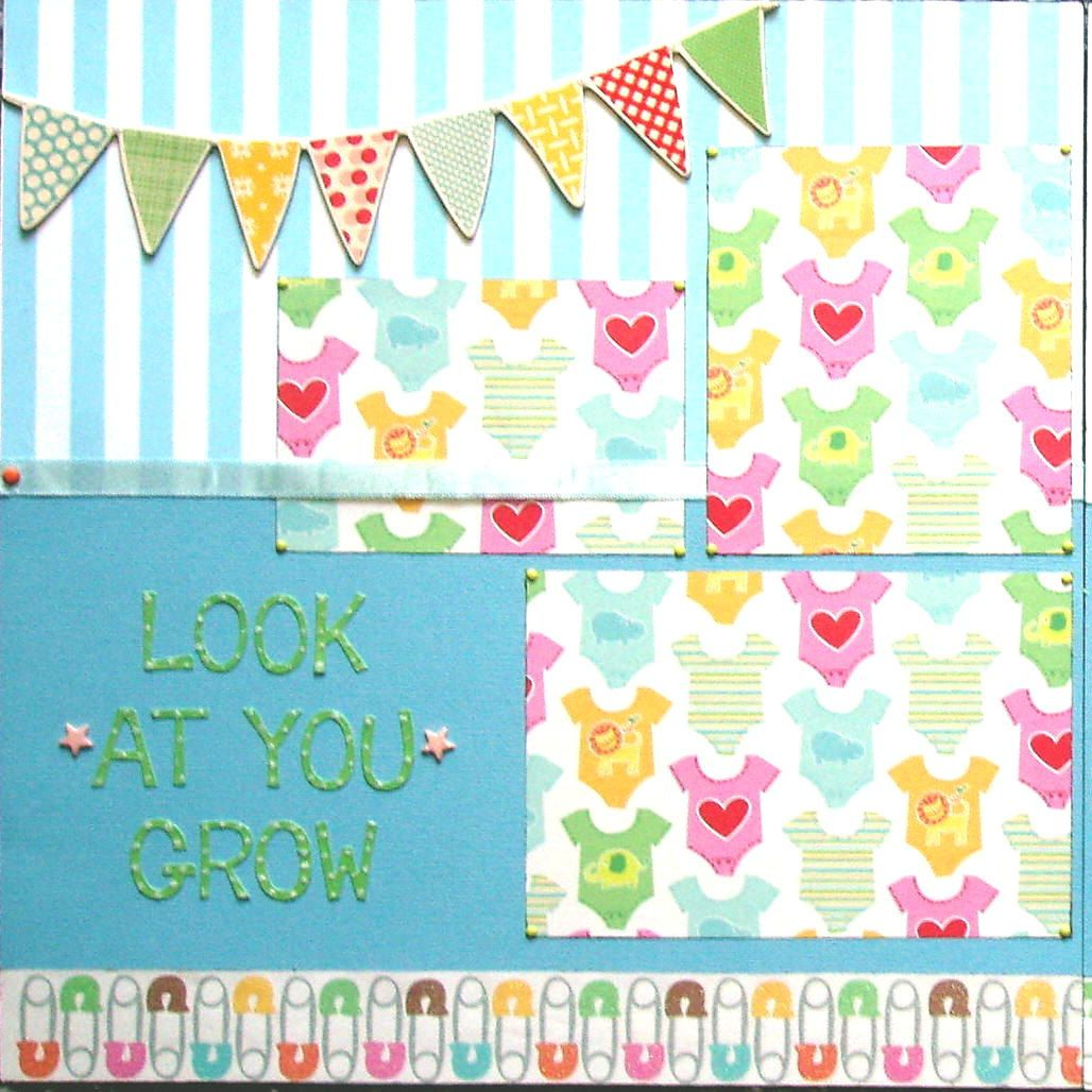 Baby girl scrapbook ideas - 12x12 Double Page Scrapbook Layout Baby S Growth Chart Look At You Grow