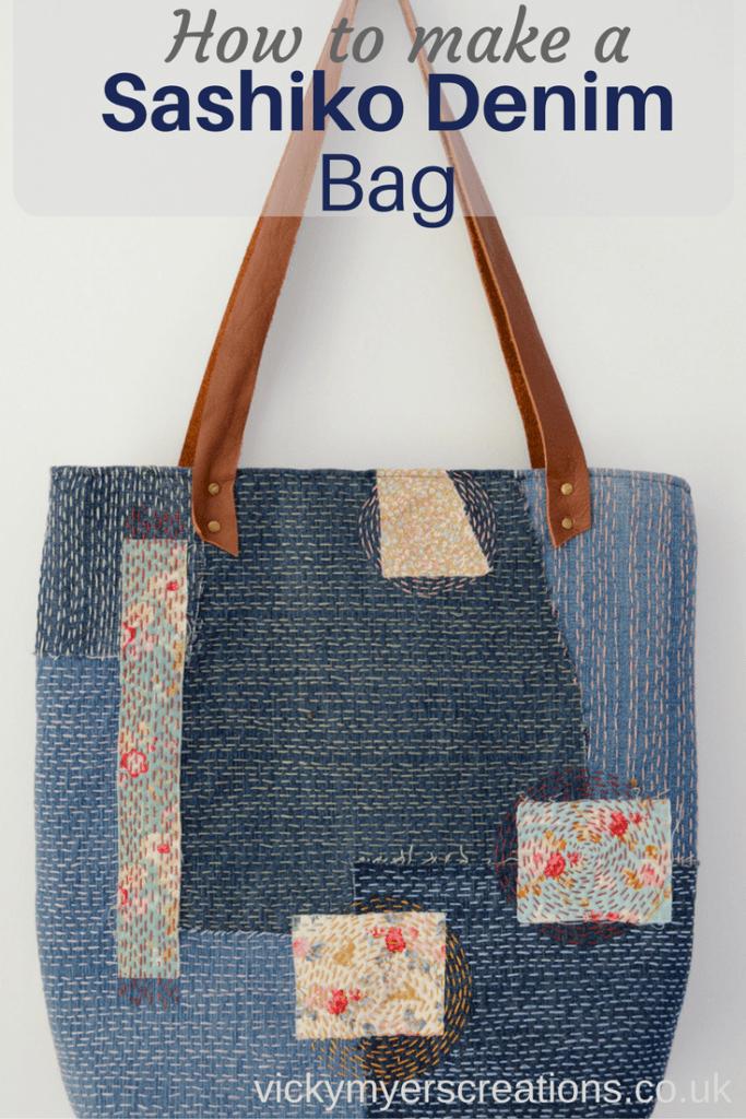 How To Make A Sashiko Denim Tote Bag Http Vickymyerscreations Co Uk Tutorial 2