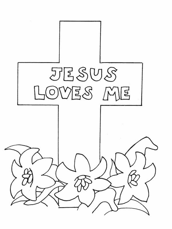 Jesus Loves Me Cross Coloring Pages | Catholic Kids/Crafts ...
