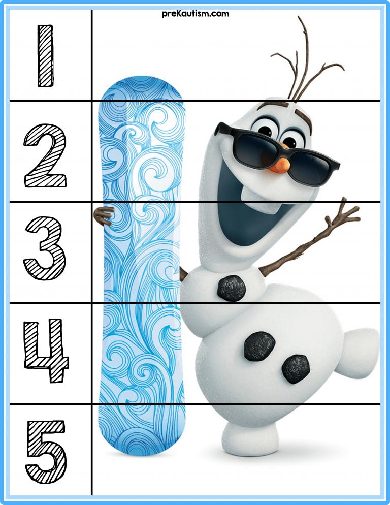 Free Frozen 1 5 Puzzles Autism Education Autism Activities Math For Kids