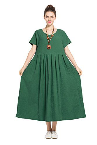 ba1b25638f Soft Linen Ctton Loose Dress Plus Size Dress Spring Summer Dress F122A