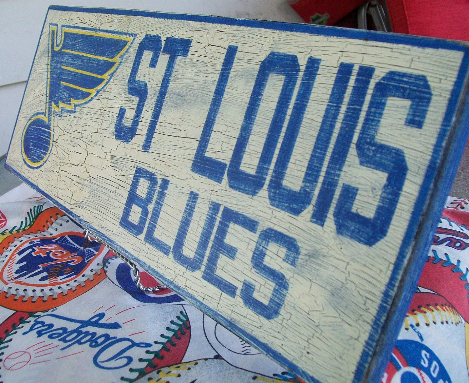 St Louis Blues Wall Sign Distressed 25 00 Via Etsy