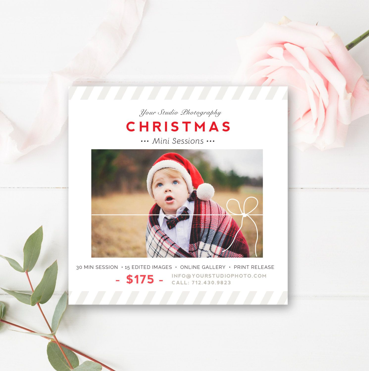 Christmas Mini Session Template - Holiday Mini Session Templates for Photographers - Christmas Marketing Board- INSTANT DOWNLOAD! by ByStephanieDesign on Etsy