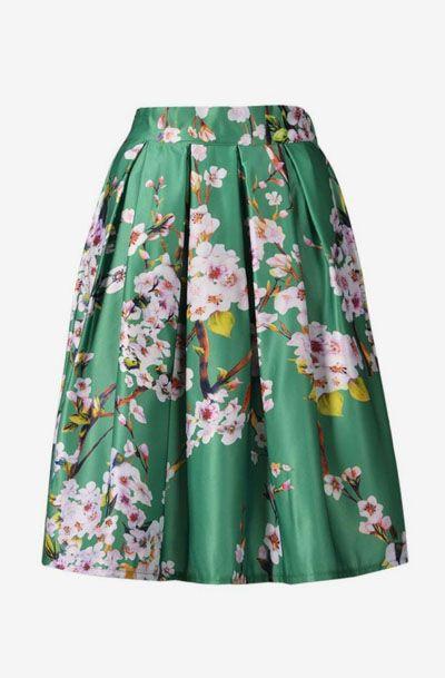 59e65b9462 Choies Women's Black/Green/White/Blue Sakura Skater Skirt With Pleat ...