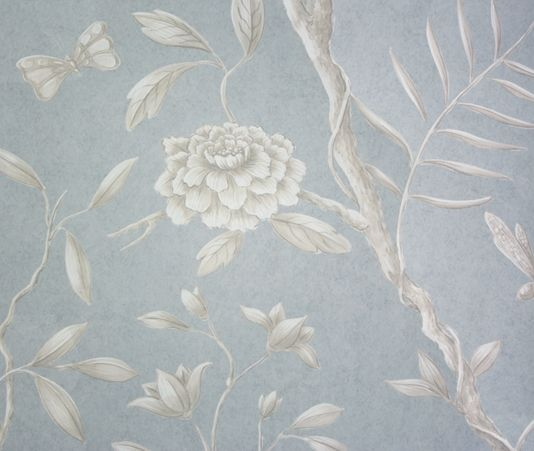 Jasper Peony Wallcovering A beautiful and tranquil climbing floral wide width wallpaper in cream on a grey blue background.