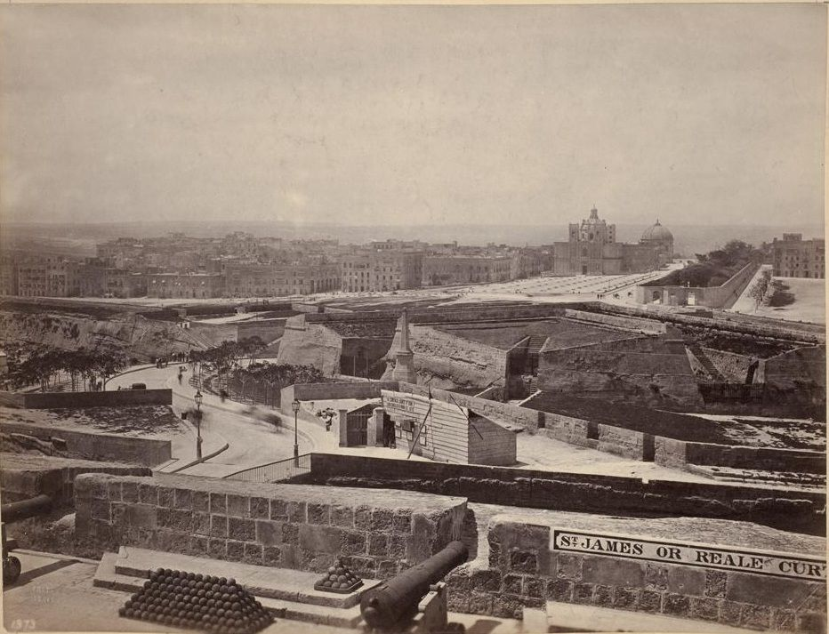 Floriana viewed from St. James Curtain Valletta Malta by Francis Frith 1870