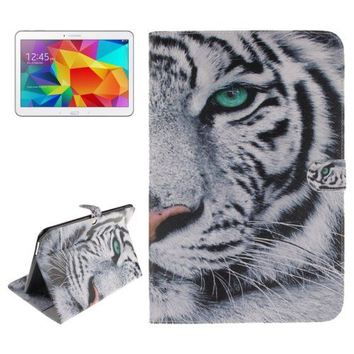 For+Tab+4+10.1+Tiger+Pattern+Leather+Case+with+Holder,+Card+Slots+&+Wallet