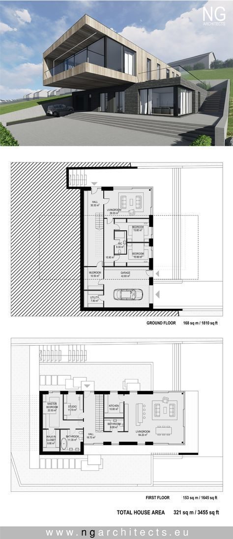 Modern house plan villa in faroe island by ng architects plans house for Plan d architecture villa moderne