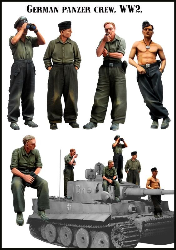 1:35 Scale WWII German soldiers Tiger Tank High Quality Resin Kit