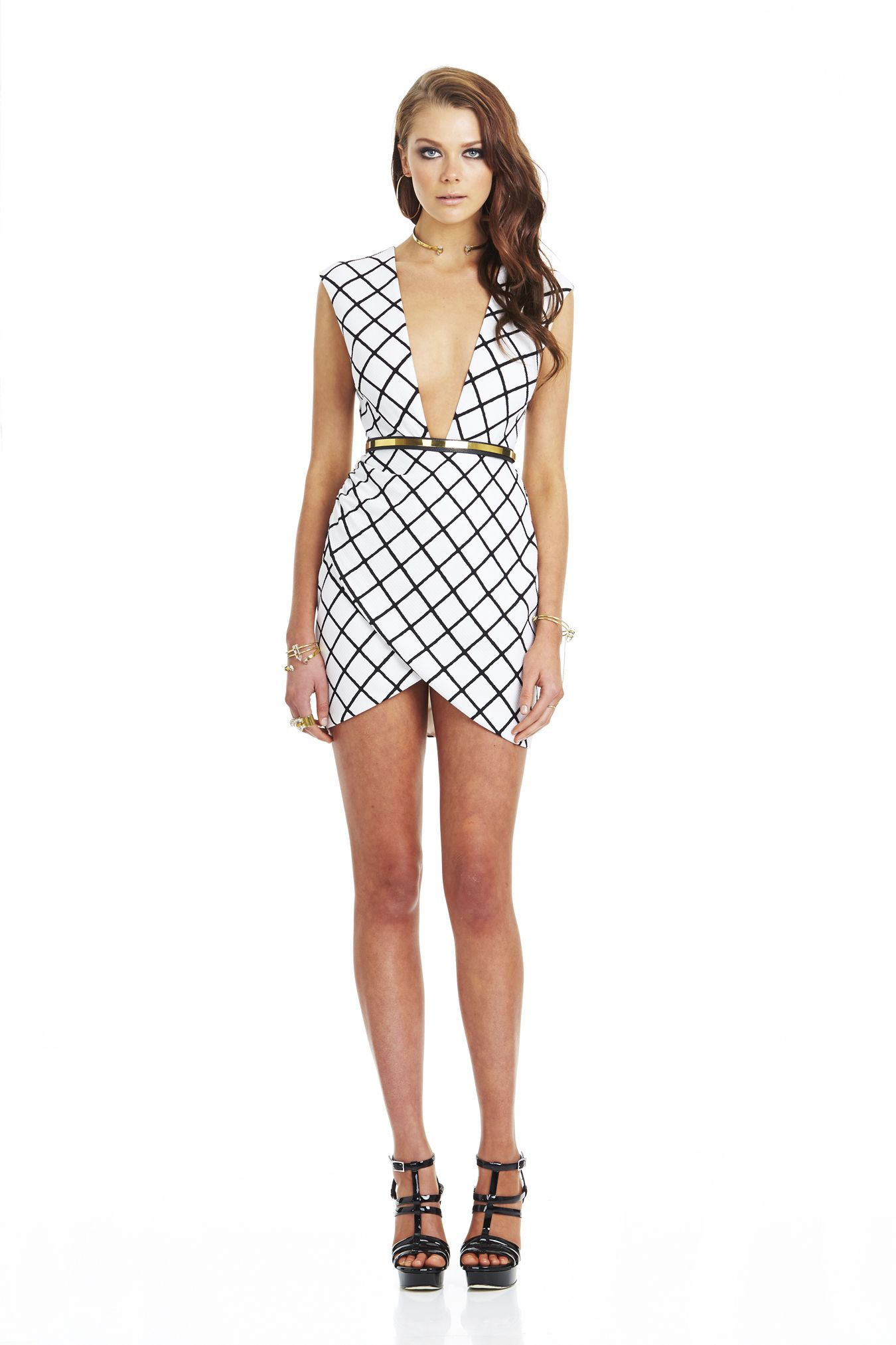 f18cbfe222 NOOKIE BOWIE CHECK LOW CUT SHIFT DRESS WHITE BLACK  209- BELT NOT INCLUDED  CALL SPLASH TO ORDER 314-721-6442