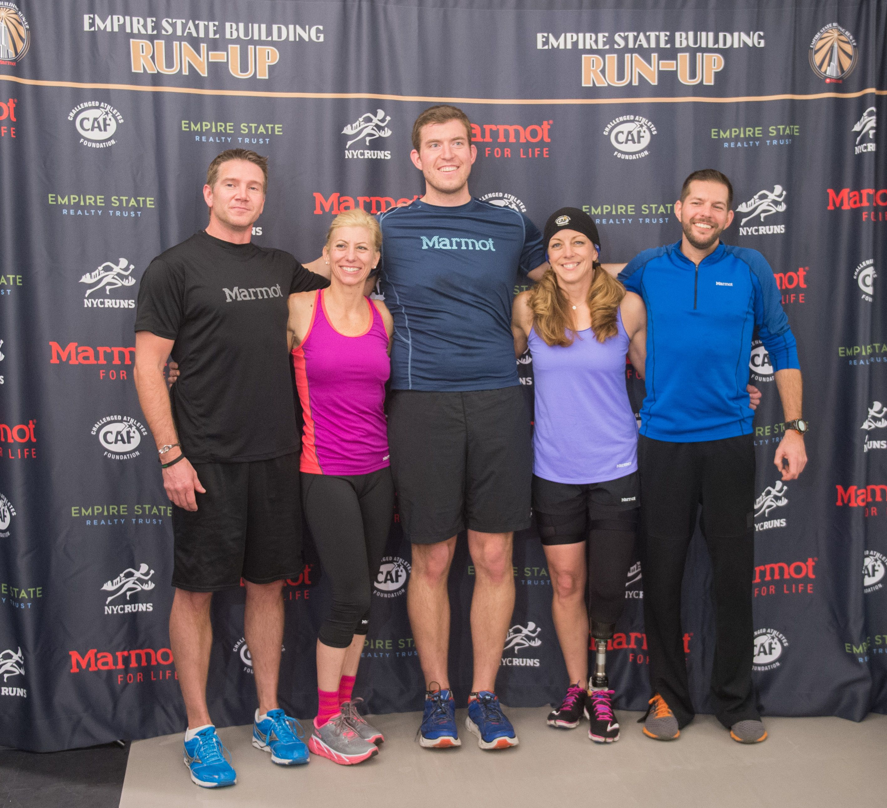 February 1, 2016: After months of training, the competitors in the 2016 Run-Up presented by @marmotmountain are ready—almost! World-class ambassador athletes with Marmot and the @cafoundation team participate in a training session in the Empire State Building's Fitness Center to prep for the big event.