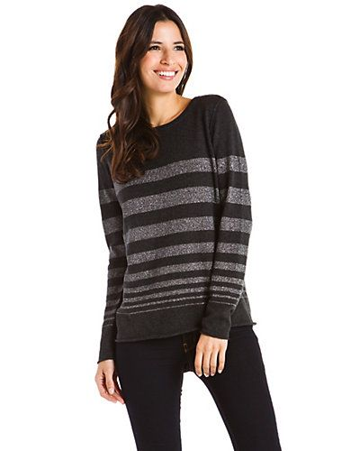 "Some of you have to get in on this: Isaac Mizrahi ""Daris"" Charcoal/Silver Stripe Sweater"