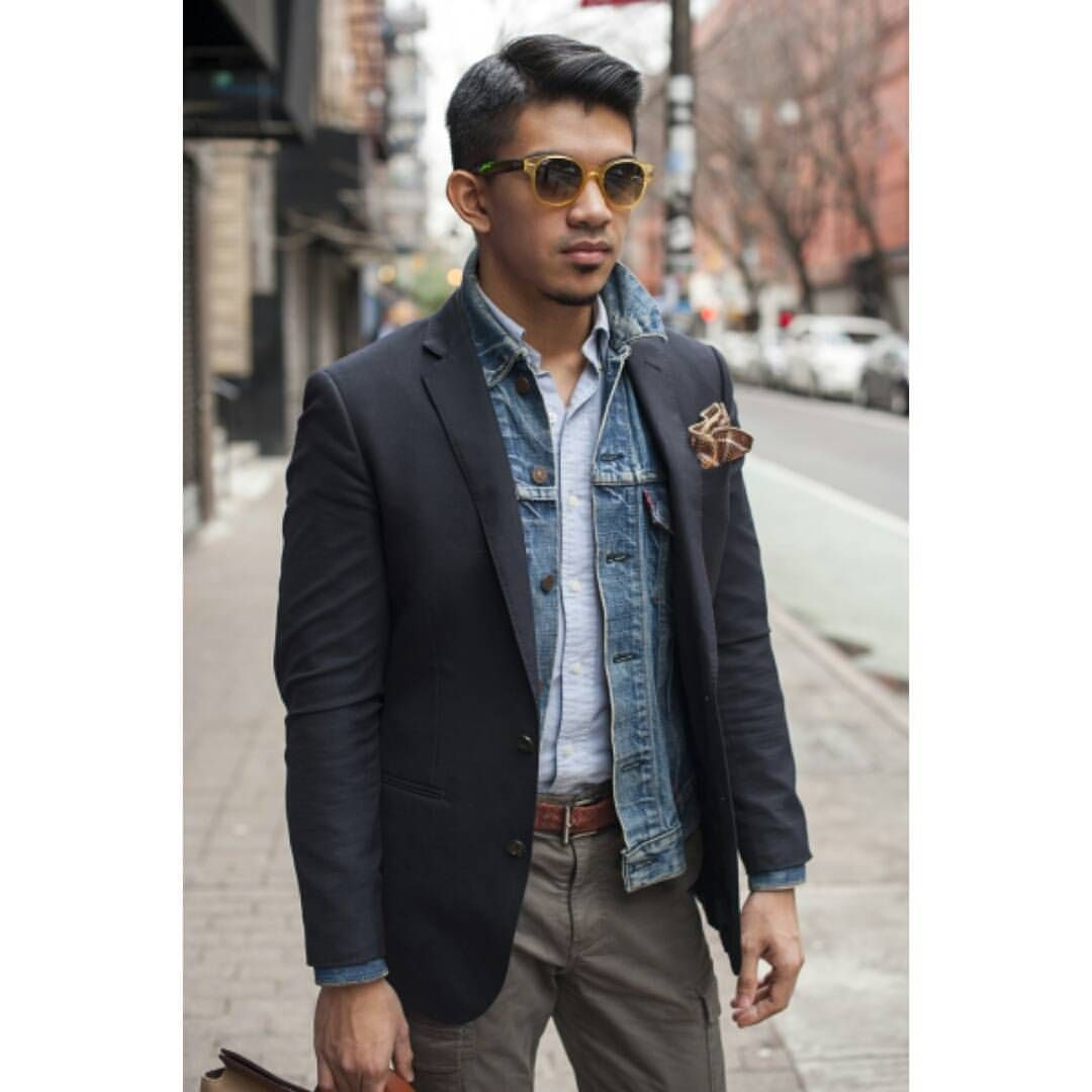 Mixing a denim jacket with a blazer is a bold fashion statement #denimjacket #streetstyle #streetwear #mensfashion #menstyle #blackpelicianapparel #fashionblogger