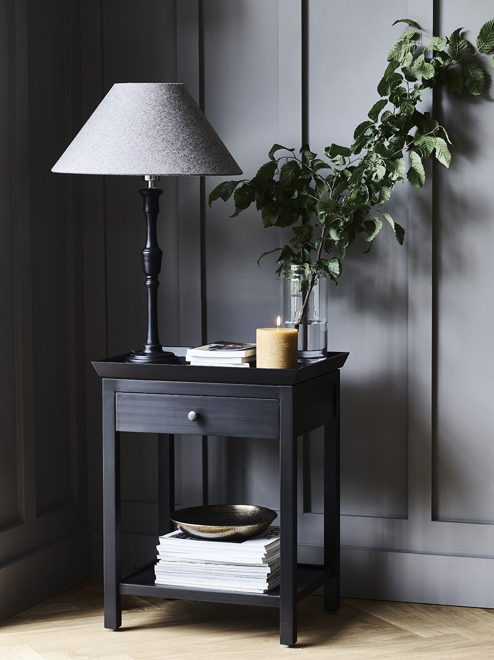 Aldwych side table, Fitzroy lamp with Oliver shade, Blyton