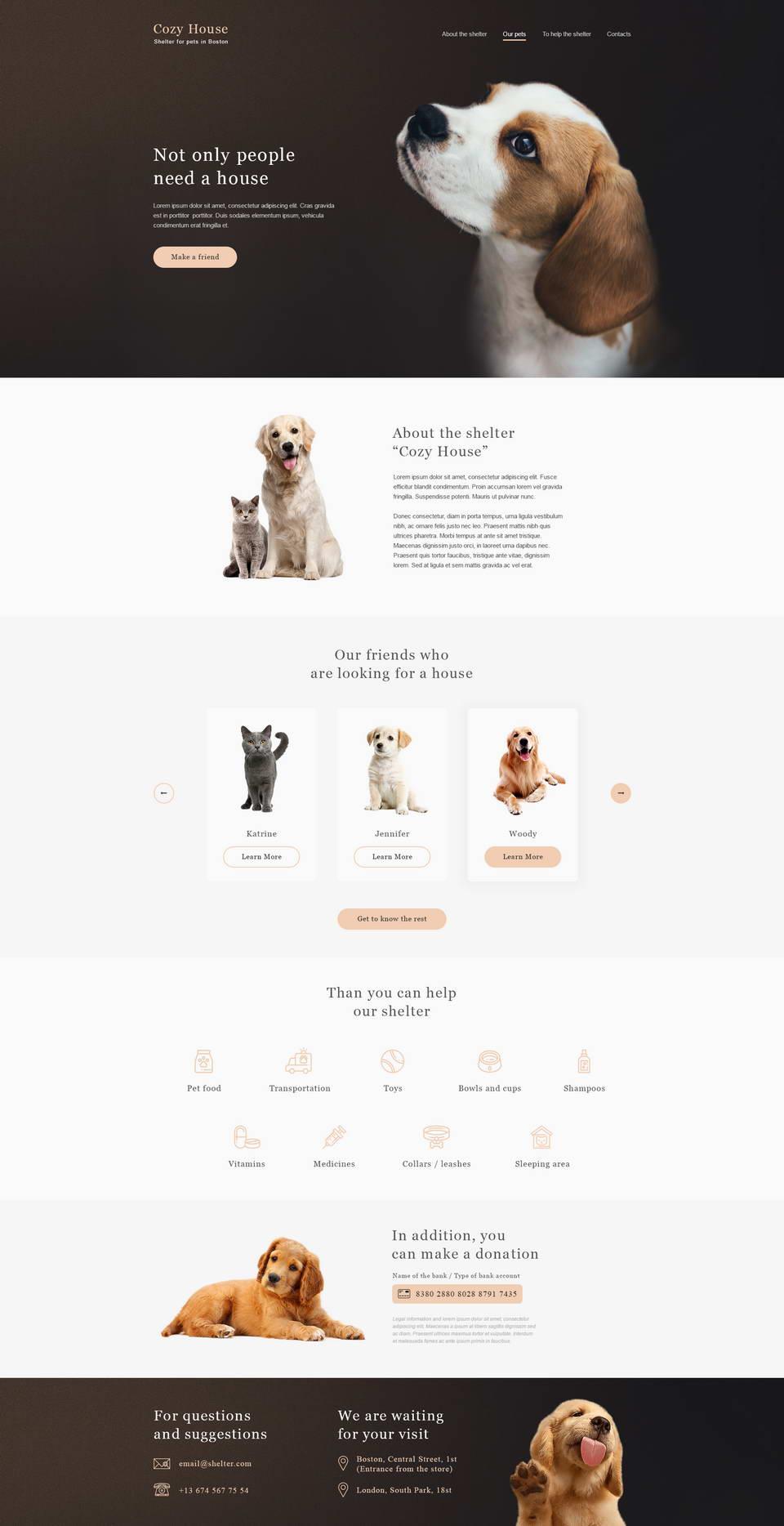 Animal Shelter Website PSD · Pinspiry