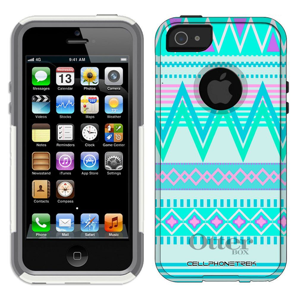 sale retailer 03da0 7e455 Otterbox Commuter Series Aztec Andes Tribal White and Teal Pattern ...
