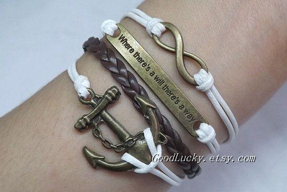 Leather BraceletInfinity BraceletAnchor BraceletWhere by goodlucky, $9.99