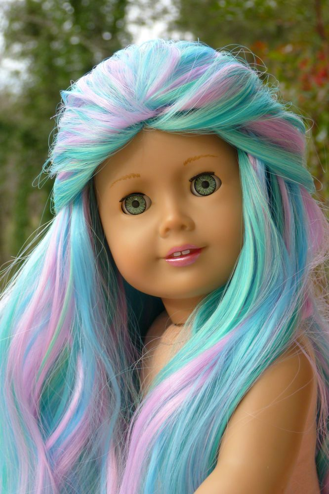 OOAK Caroline American Girl 18 Doll Green Eyes Custom Pastel Rainbow Hair #americangirlhouse