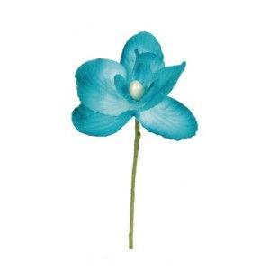 orchidée turquoise sur tige, fleur d'orchidée en tissu, décoration