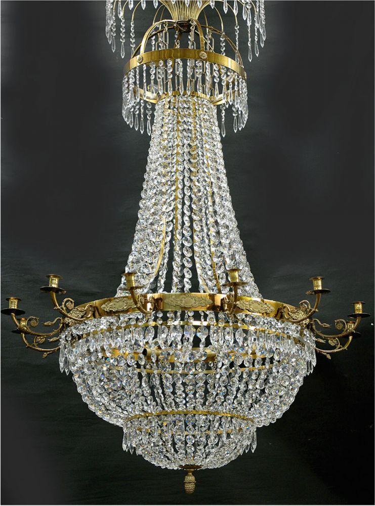 Großer Kronleuchter, Schweden, 15 Flammig, Messing, Reicher Prismenbehang,  Dm.