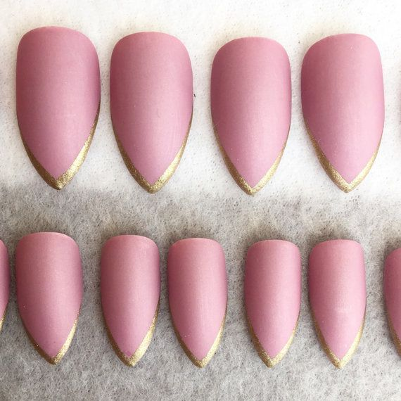 Dusty Pink Faux Nails Gold Tips Stiletto by PolishedThirteen