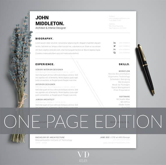 Architect Resume Minimalist CV ONE Page Resume Modern Man  Minimalist Resume Template