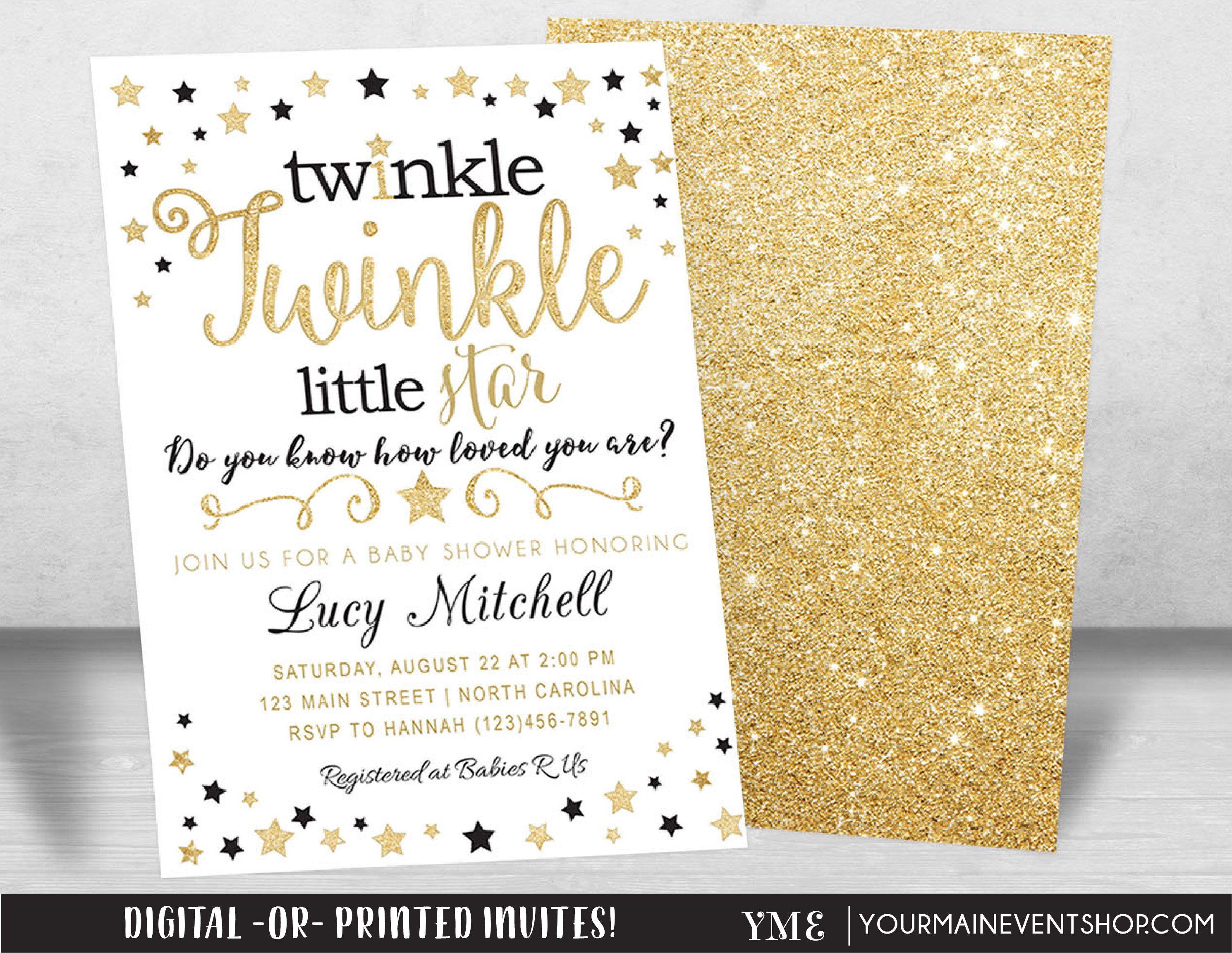 Twinkle Twinkle Little Star Baby Shower Invitation, Twinkle Twinkle ...
