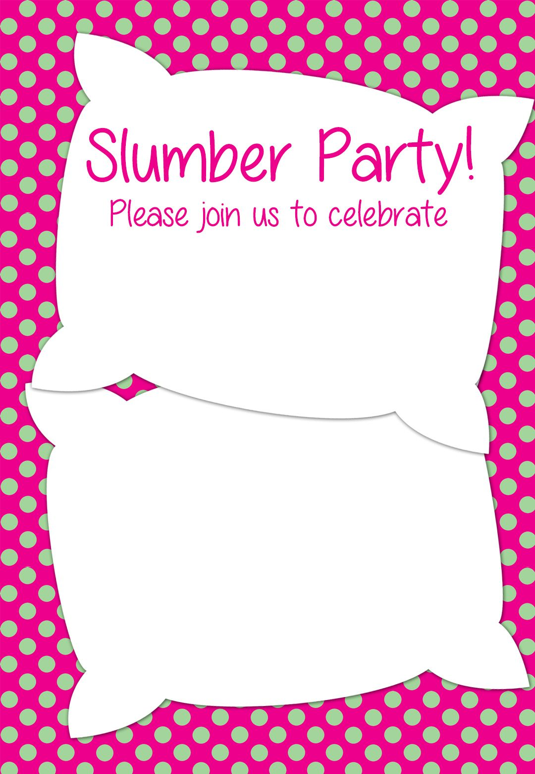 Free Printable Slumber Party Invitation Party ideas Pinterest