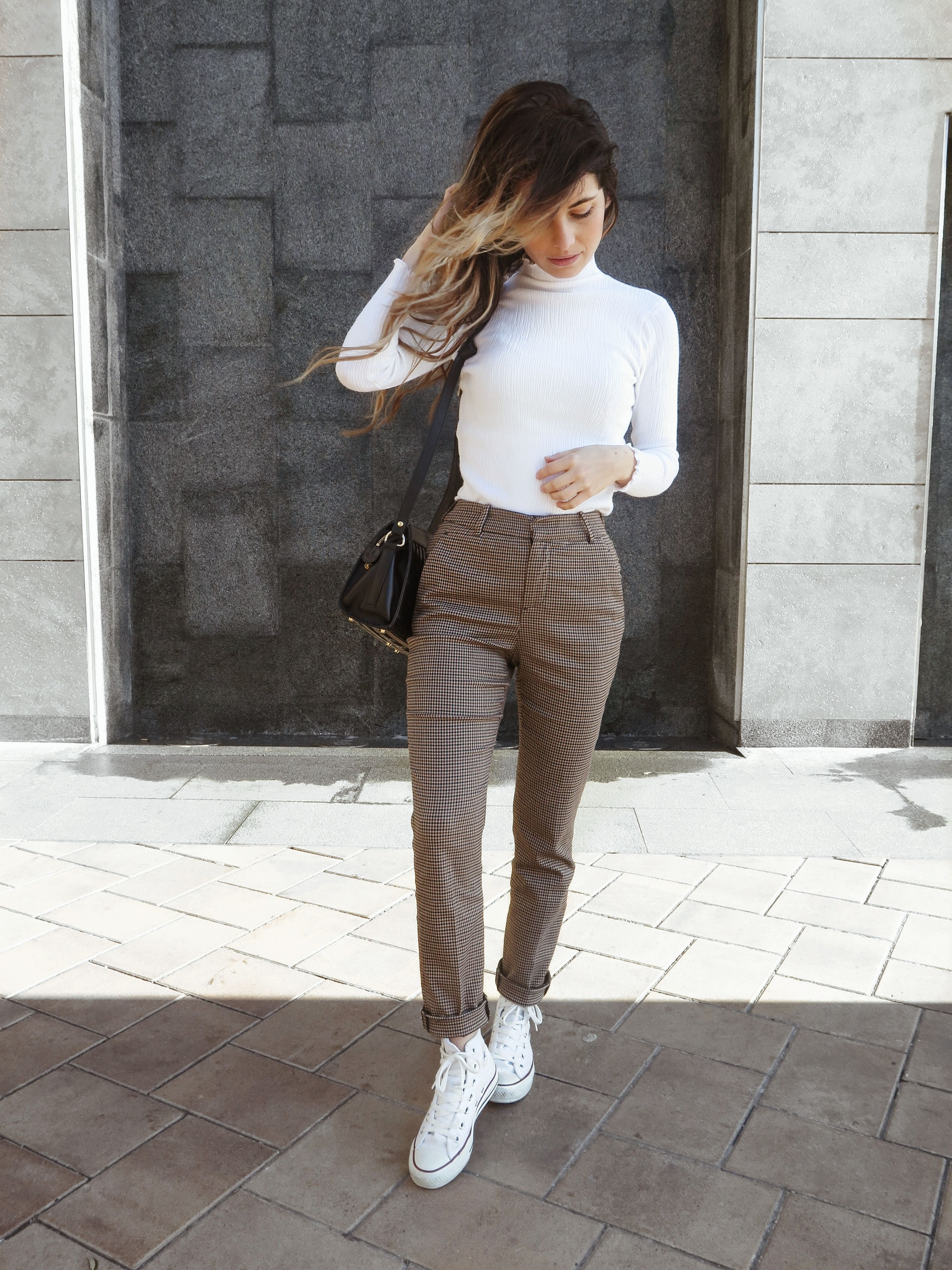 3c8a481cdee2 simple outfit plaid pants from zara