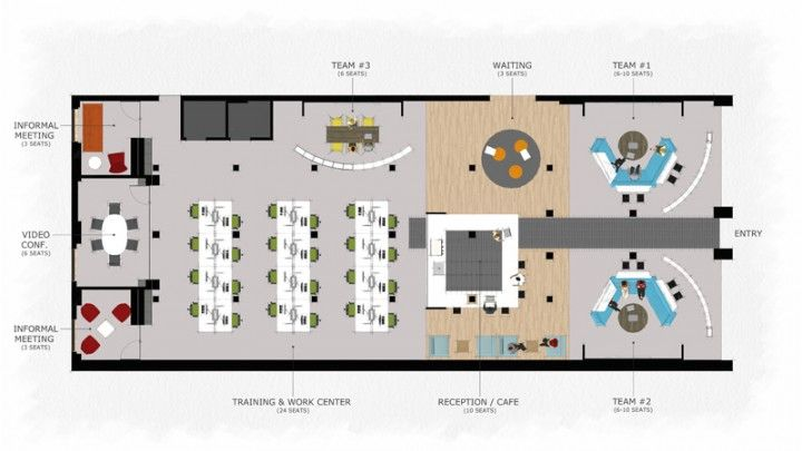 Coworking space floor plan 801 a street pinterest for Office space floor plan creator