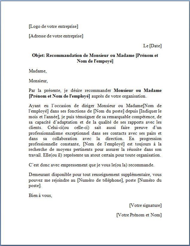 Modèle De Lettre De Recommandation Reference Letter