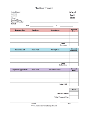 Tuition Invoice Template Tuition Tuition Payment School Info