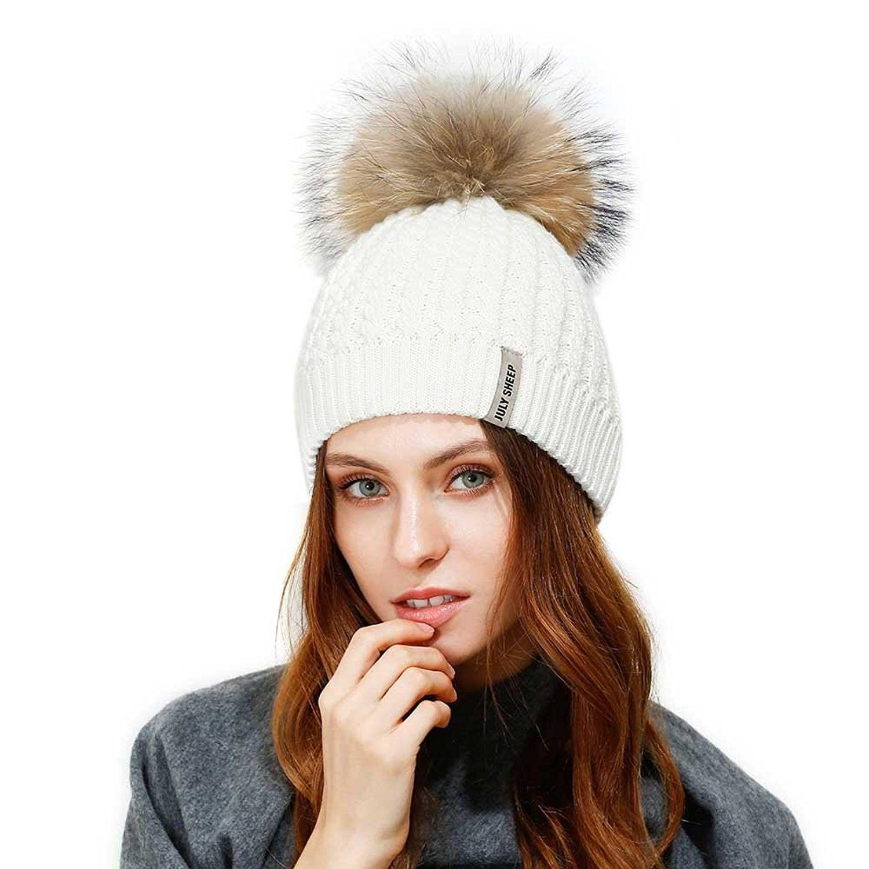 6cba3d6daa1 Crochet Knit Fur Hat With Real Large Fur Pompom Beanie Hats Winter Ski Cap  - White
