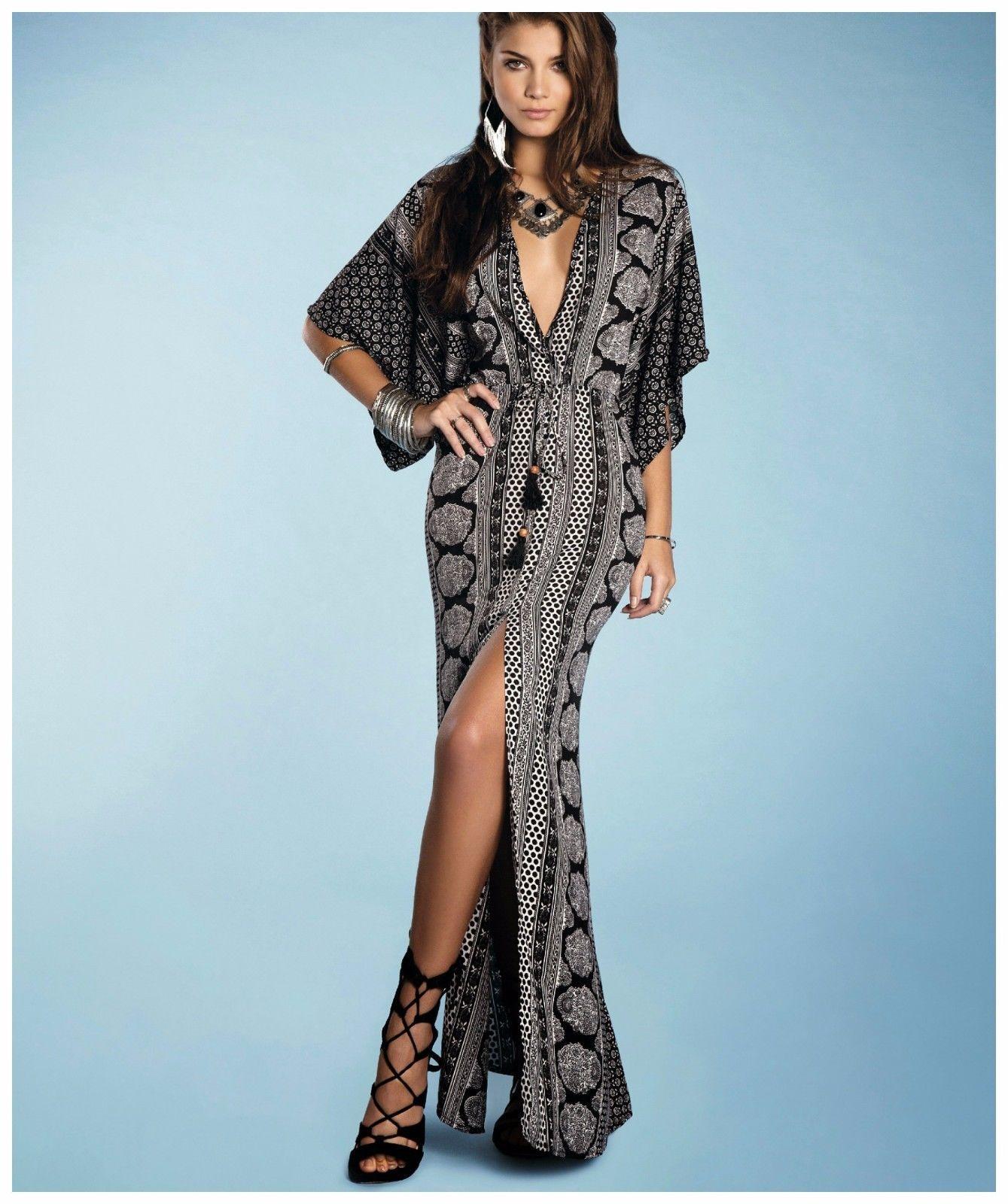 89e7b90b22 Elan Boho Paisley Sexy Black White Gypsy Kaftan Maxi Dress Deep V Front  Slit | eBay