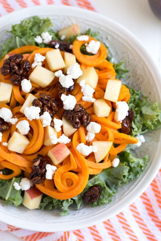 Spiralized Sweet Potato and Kale Salad with Maple Balsamic Dressing is made with a few ingredients and comes together in little time! Thanks Spoonful of Flavor