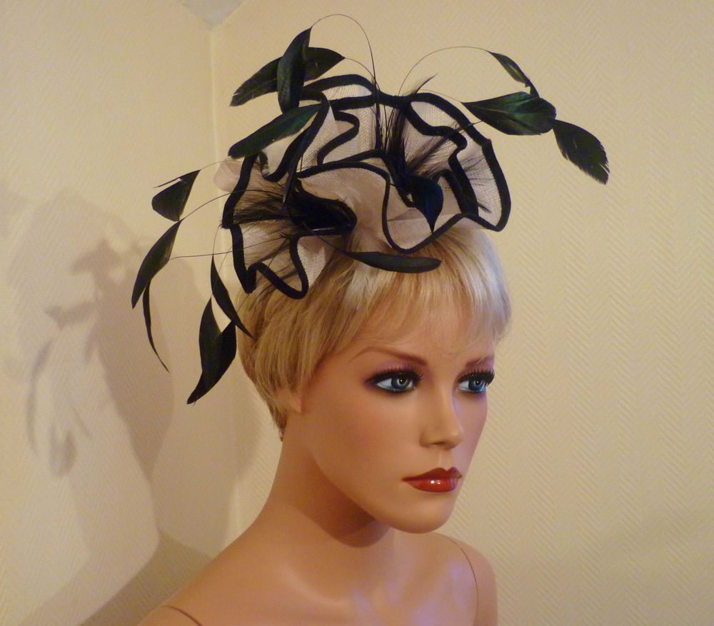 Las Day Black Ivory Cream Fascinator Wedding Royal Ascot Derby Race Hat