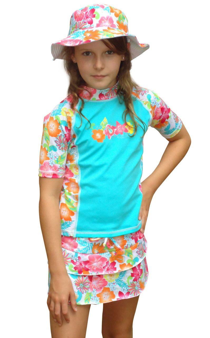 cdc00d4e5e2f2 Solartex Sun Gear - Girls Swim Skirt, Rashguard Shirt and Hat set -sizes 6