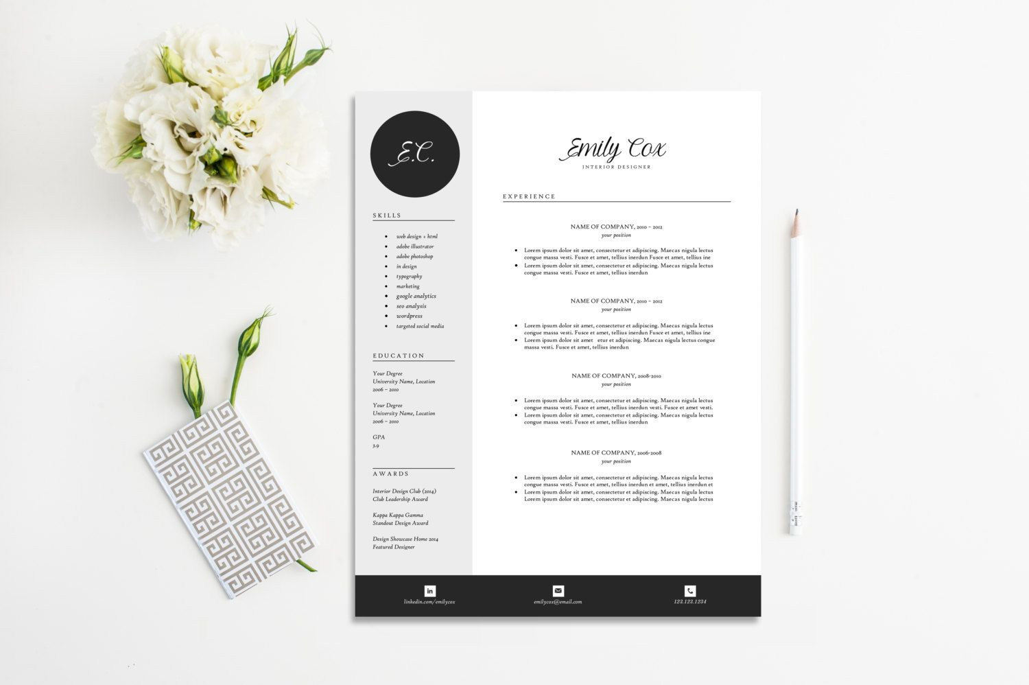 Instant Download Resume Template For Microsoft Word Hello