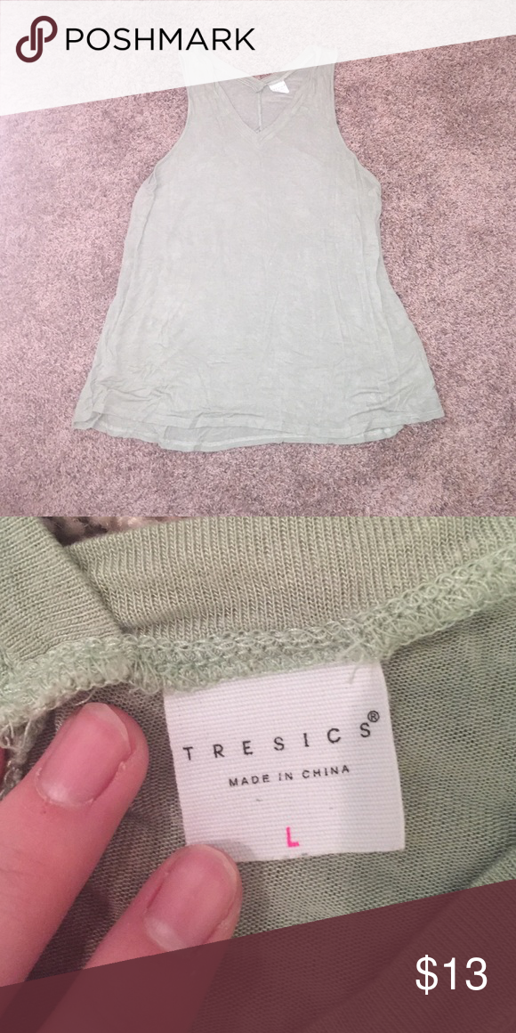 Boutique bought flowy vneck tank Minty green flowy tank - size L super cute :) comfy and soft material. In great condition 👌🏻 Tops Tank Tops