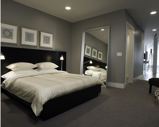 Superieur Modern Master Bedroom Design Ideas With Black Bedroom Furniture Set And  Grey Wall Paint Color