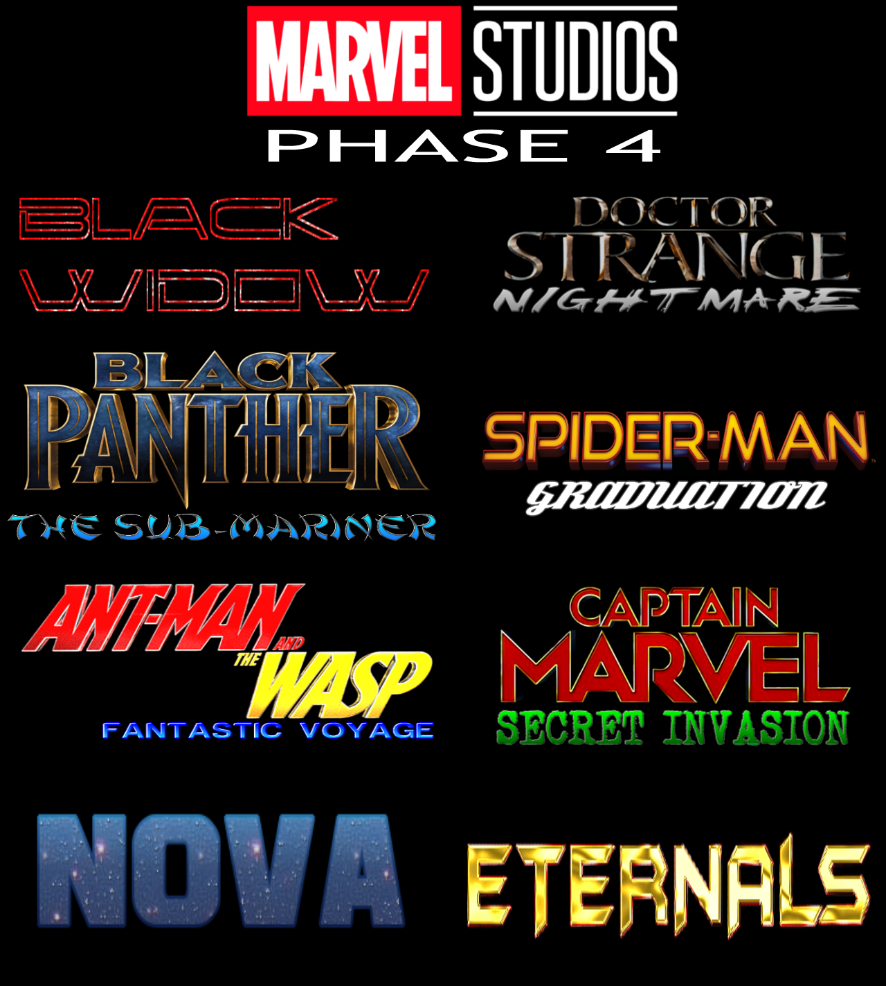MCU Phase 4 fan-made slate (If they save X-Men and Fantastic