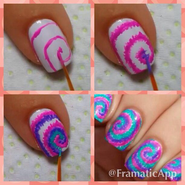 Tie-dye nails tutorial. Super easy | nails | Pinterest | Tie dye ...