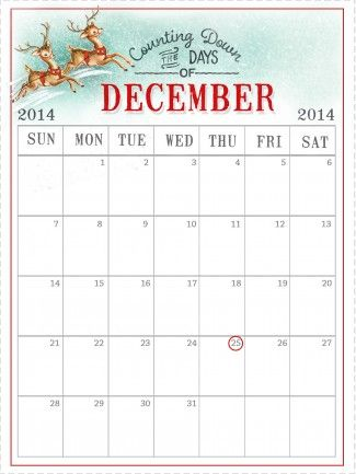 Free December 2014 Calendar- thank you Marie from Stitch in Time - Daily Calendar Printable