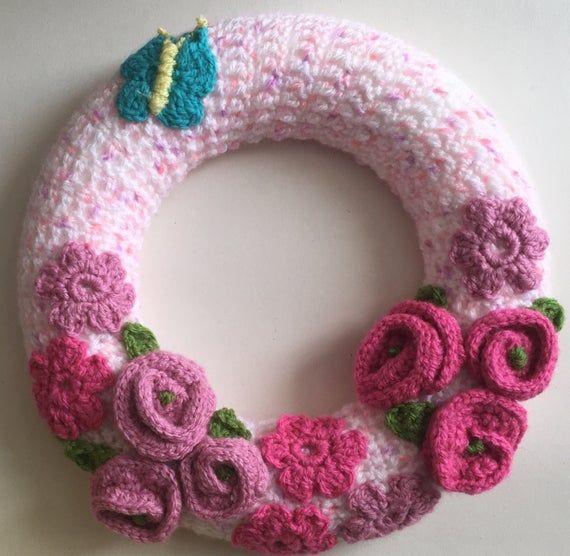 Photo of Crochet wreath, door / wall hanging. Large crochet floral wreath. Handmade crochet flowers and butterfly. Home decoration wreath