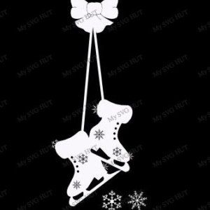 Hanging Ice Skates Window decoration  template