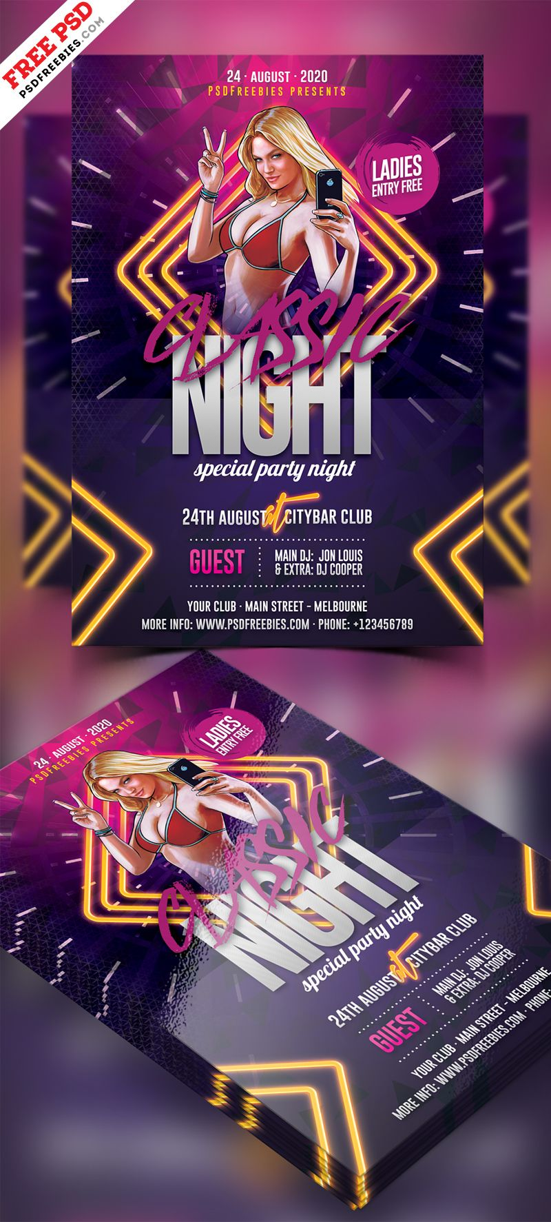 Club Night Party Flyer Free Psd Flyers Musicales Pinterest