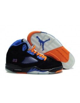 21cecc65c6252b Nike Air Jordan 5 V Retro Mens Shoes Black Blue Orange